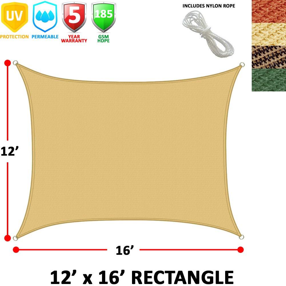 Modern Home Sail Shade Rectangle (16' x 12') - Beige