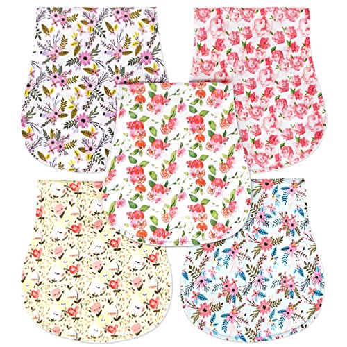 Honey Molly 5 Pack 100% Organic Cotton Burp Cloths for Baby Girls, Floral Pattern Design Burping Rags Absorb Drools & Spit Ups While Keeping Your Clothes Dry, Hypoallergenic, Soft, Absorbent Boutique Baby Burp Cloth