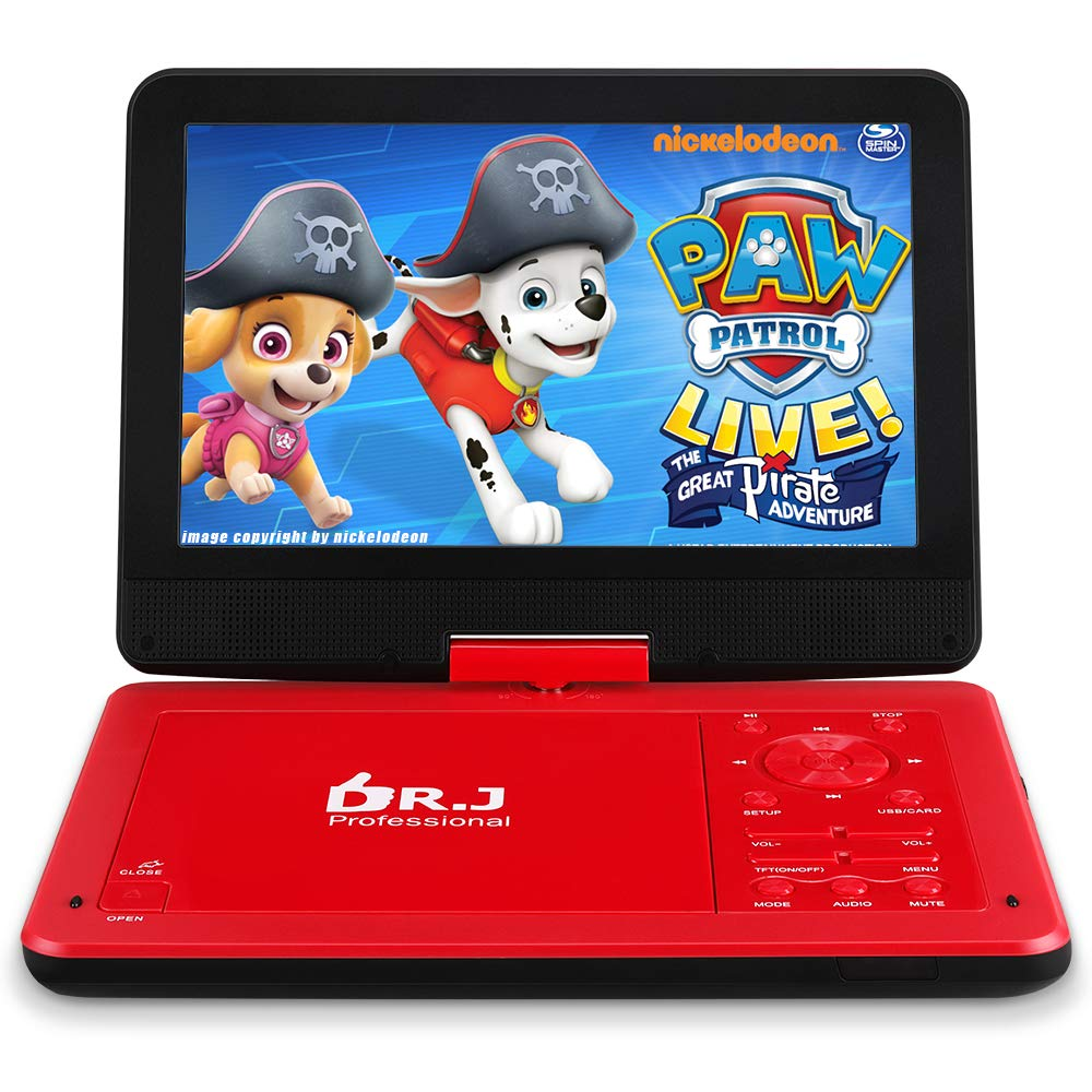 DR. J 12.5'' Portable DVD CD Player 10.5'' HD Swivel Screen with 5 Hours Rechargeable Battery, Region-Free Video Player with Remote Control and AV Cable Sync TV with Car Charger Jet Red by DR. J Professional