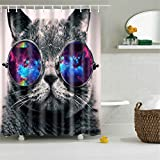 Galaxy Hipster Cat Wear Solar System Space Sunglasses Bathroom Shower Curtain Decor Art Prints Waterproof Polyester (Hipster Cat)