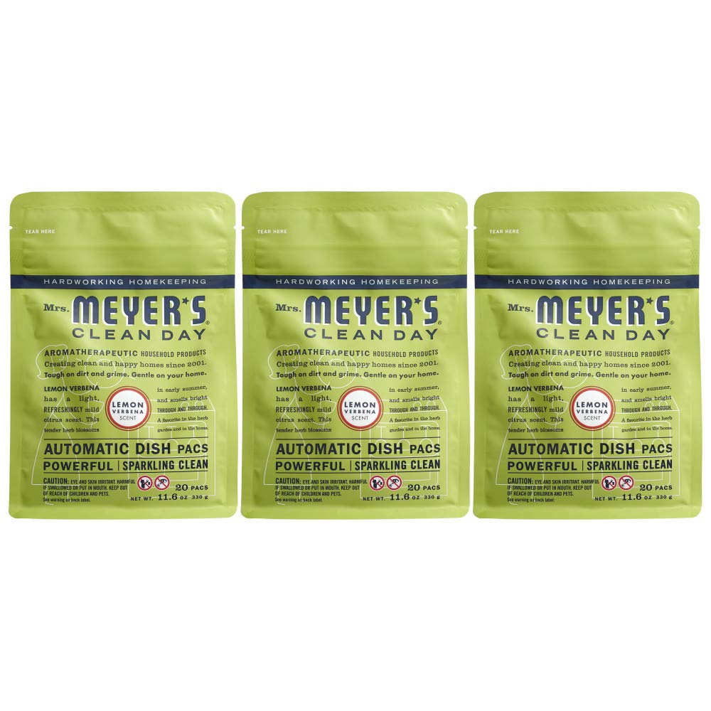 Mrs. Meyer's Clean Day Automatic Dish Pacs, Lemon Verbena Dishwasher Pods, 20 pods