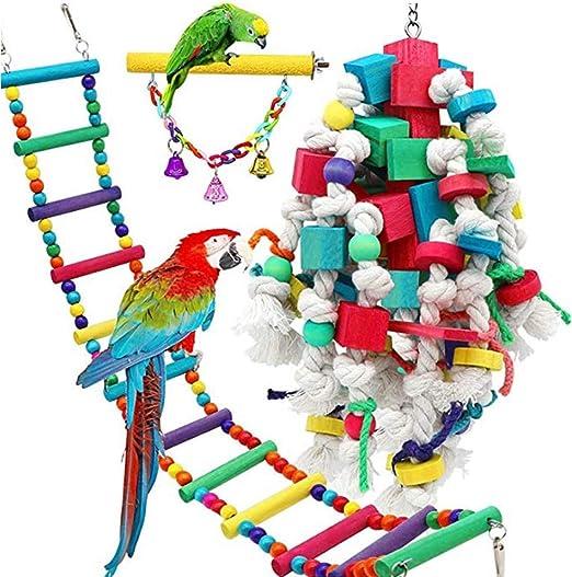 Catkoo 3 Piezas de Juguetes para Loros de pájaro, Juguetes para pájaros, Escalera para Colgar pájaros, Bloques de construcción para Masticar, Juguete de Cuerda de morder, Color al Azar: Amazon.es: Productos para