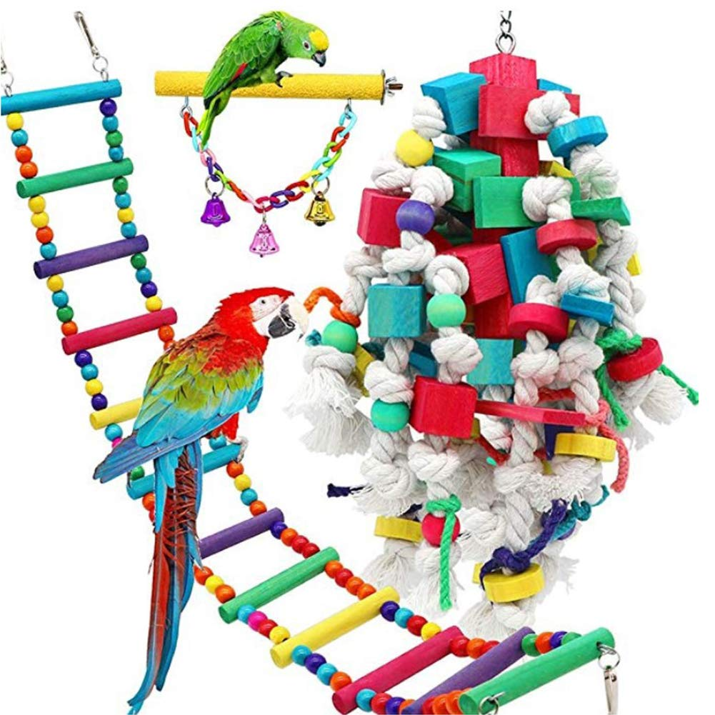 Gilroy subaoonline 3Pcs Birds Swing Toys, Parrots Chewing Hanging Perches with Bells Toys for Love Birds Budgie Macaws Cockatiels Parakeets Finches Lorikeets Random Color by Gilroy