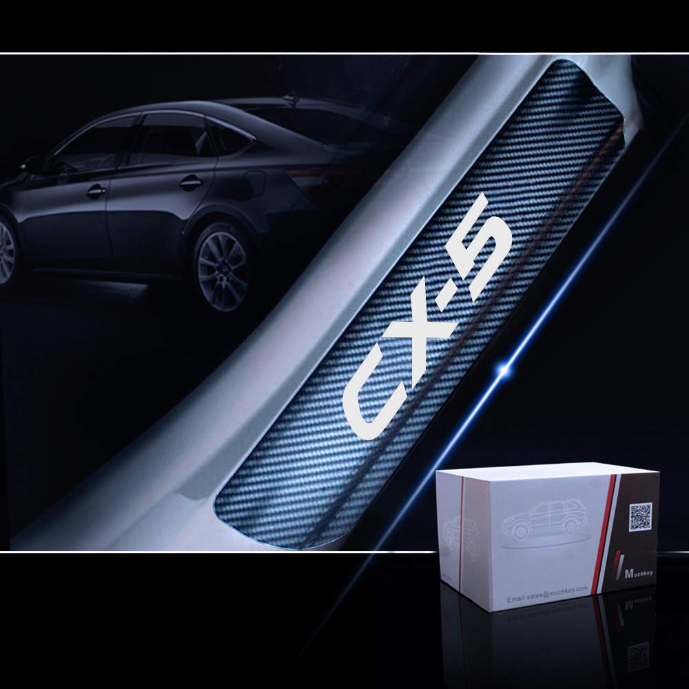 for Mazda CX-5 Door Sill Protector Reflective 4D Carbon Fiber Sticker Door Entry Guard Door Sill Scuff Plate Stickers Auto Accessories 4Pcs Blue