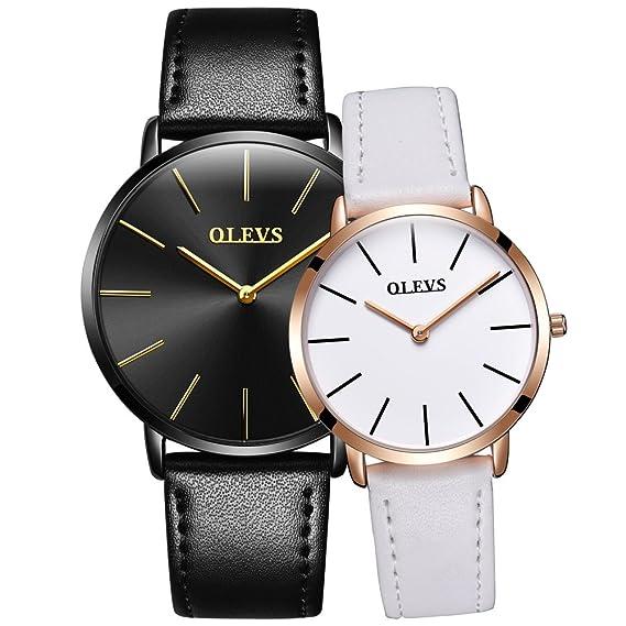 500ea17ec7750 OLEVS Men Women Romantic Rose Golden Ultrathin Leather Band Quartz Wrist  Watches for Couples Set of