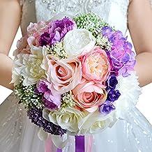 Moleya 9 Inch Handmade Vintage Artificial Silk Roses Wedding Bouquet for Bridal Bridesmaid Holding Flower,Pink