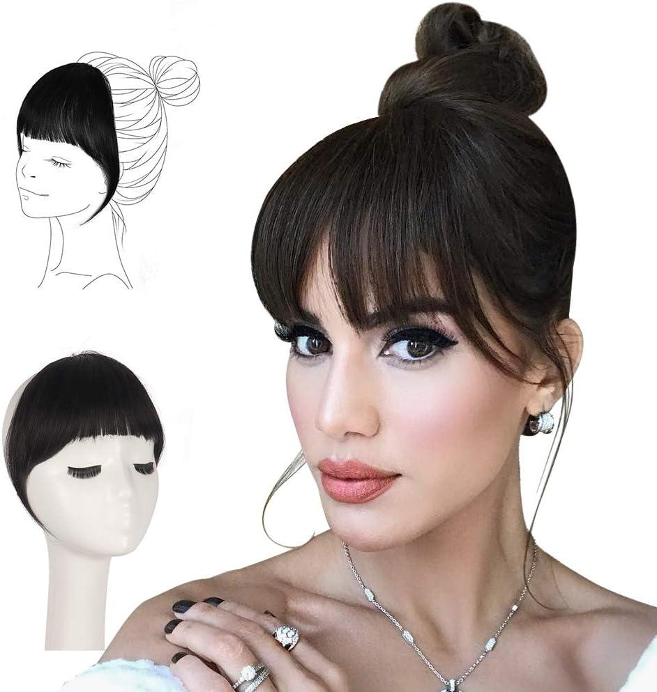 FESHFEN Flequillo Postizo Pelo Natural, Humano 100% Remy Hair de Cabello Natural Clip Una Pieza Flequillo Postizos Naturales para Mujer