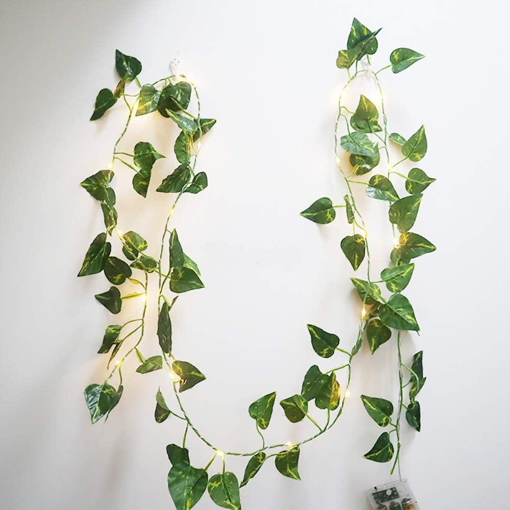 guirlandes lumineuses cuivre flexible de 6,5 pi 20 LED parfait pour lint/érieur Floristlighting 3 piles AA aliment/ées guirlandes de guirlandes de feuilles vertes la chambre /à coucher