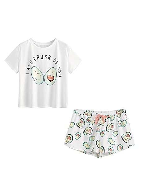 SOLY HUX Conjunto de Pijamas con Estampado de Dibujos Cartoon para Mujer-XS