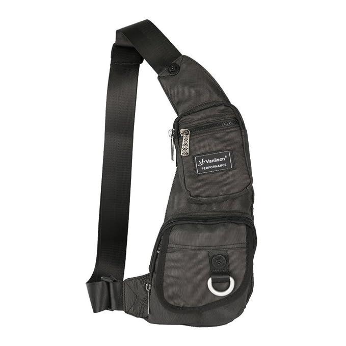 Sling Bag, Vanlison Small Sling Backpack, Small Chest Bag - Small Crossbody Bag For Men Women, Lightweight Shoulder Bag Black