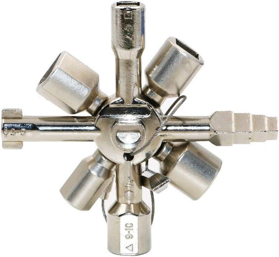Servicio de Utilidad cuadradas y triangulares Clave Ronda for el Control de la caja del medidor de gas de agu 10 en 1 multifuncional Cruz llave del interruptor 10 de manera clave universal de la Cruz