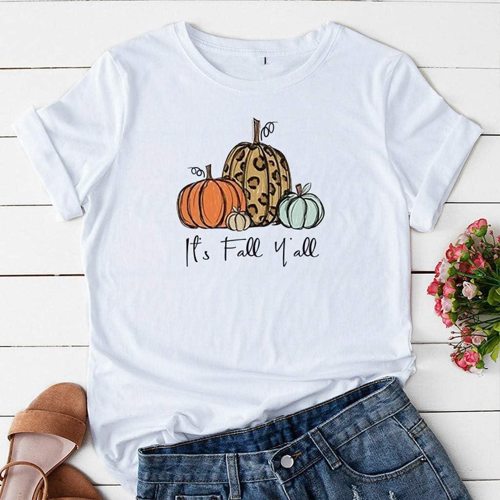 Weiliru Womens Short Sleeve Cartoon Letter Print Halloween T Shirts Funny Solid O Neck Tops Tees