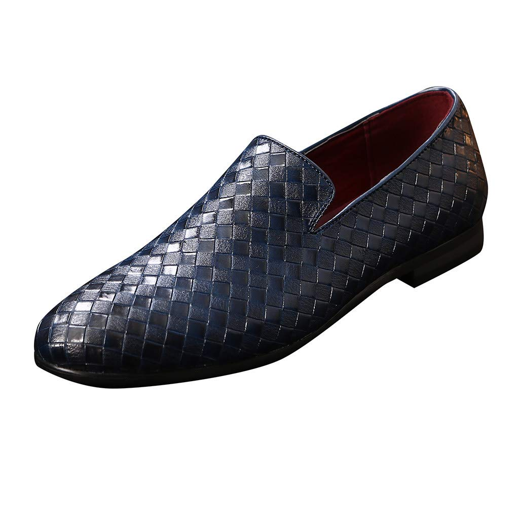 Men Pointed Toe Tuxedo Loafers Noble Slip On Party Wedding Dress Shoe Plaid Smoking Slipper Blue by Lowprofile Men Shoes