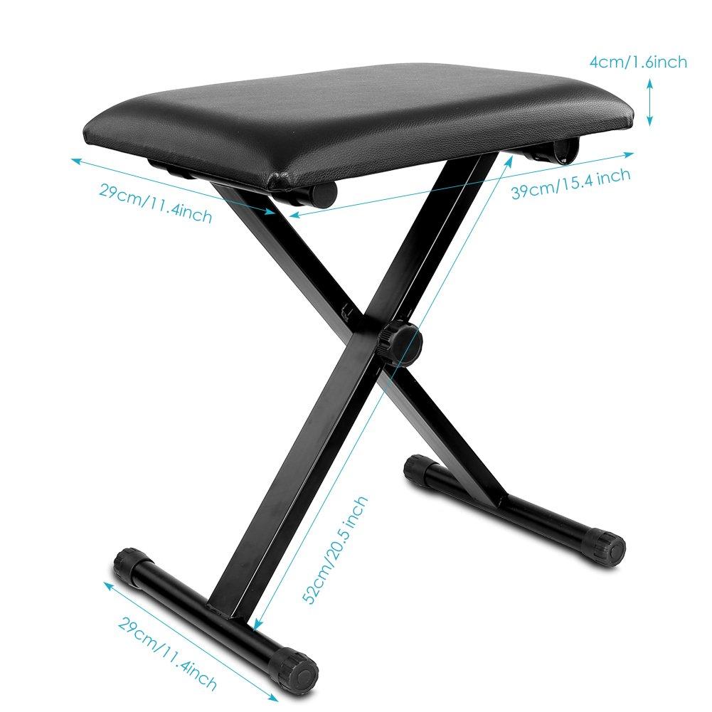 Neewer/® 3/Posiciones de Ajuste de Altura /Carcasa de Hierro Negro Plegable Super-Stable y Resistente Acolchada Teclado con Patas X-Style/ 16.5///17.5//19.5, 42/cm//45/cm//50/cm