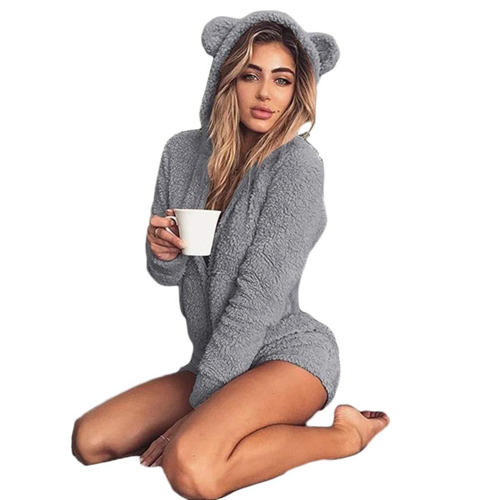 Zengbang Donna Set da Pigiama Jumpsuit Pantaloncini Pelose Maniche Lunghe Tuta Caldo Cappotto con Cappuccio