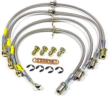 Gold Hose /& Stainless Gold Banjos Pro Braking PBK4715-GLD-GOL Front//Rear Braided Brake Line