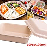 10Pcs 1000ml 3-Lattice Microwave Safe Food Container with Lid Divided Plate Bento Box Disposable Lunch Wrap Bowl with Cover Pulp Non-toxic Biodegradable