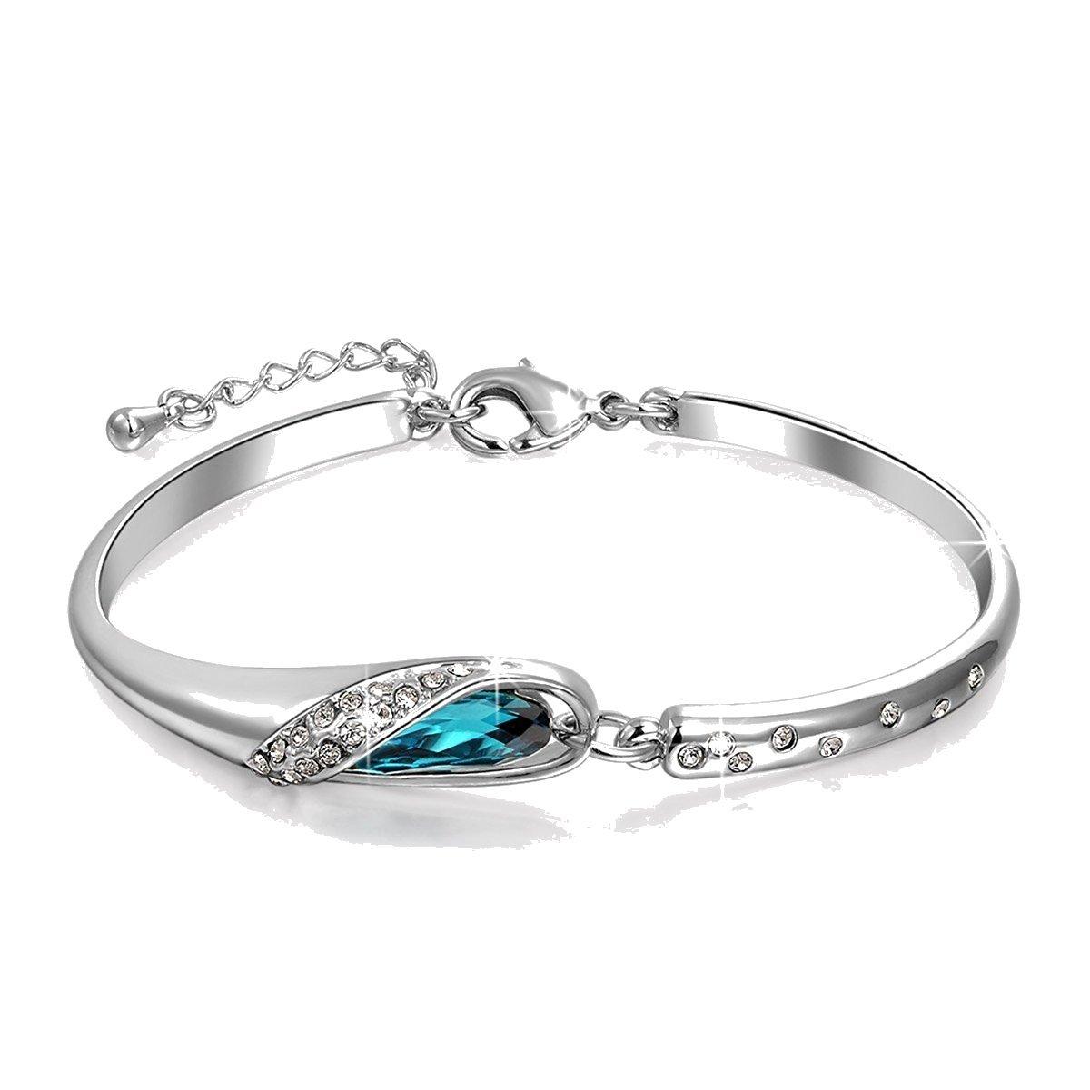Crystals from Swarovski Bermuda Blue Bangle Bracelet Silver Plated for Women 7 Crystalline CR-AZ-0066