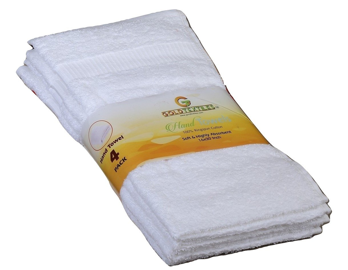 Gold textiles Large Cotton Salon Luxury Hand Towels (4-Pack,White,16''x30'') -Highly Absorbent Multipurpose Use for Bath, Hand, Face, Gym and Spa (White)