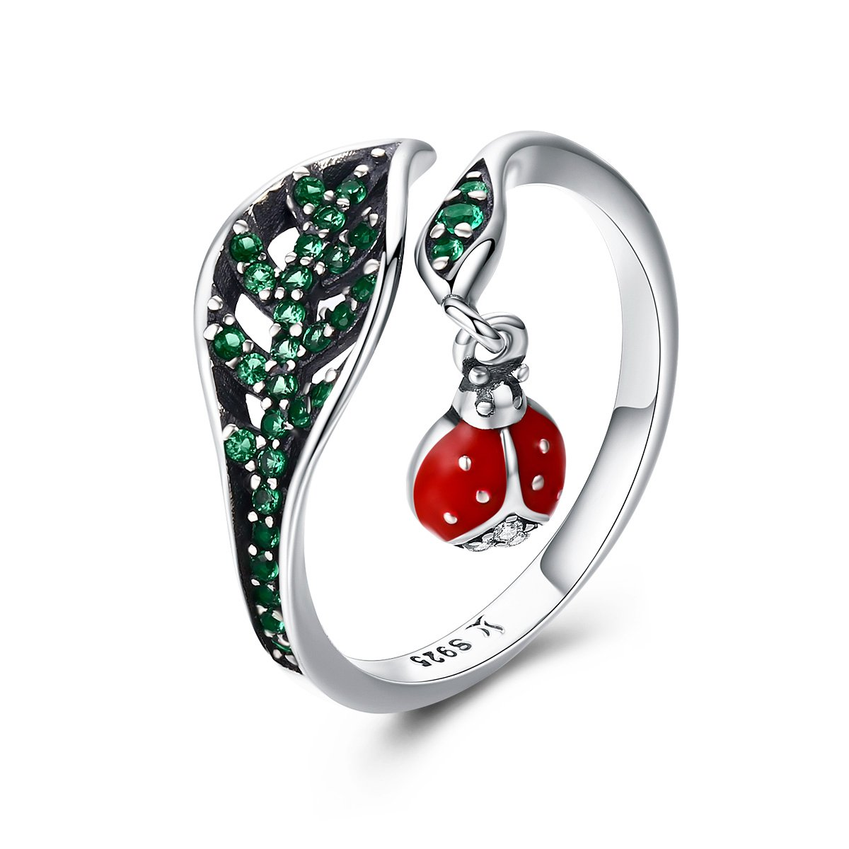 WOSTU 925 Sterling Silver Dazzling Green Cubic Zircon Leaf Wrap Bands Rings Lovely Ladybug Enamel Rings