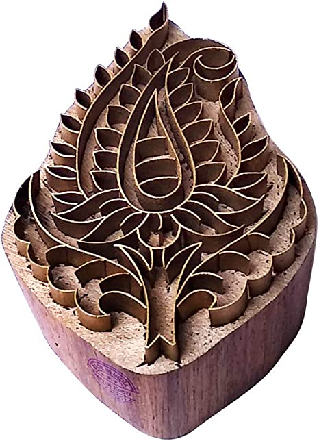 Crafty Printing Block Brass Paisley Shapes Wood Pottery Stamp