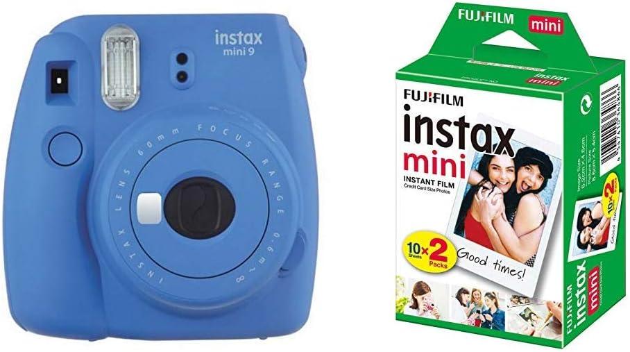 Fujifilm Instax Mini 9 - Cámara instantánea, Cámara con 1x10 películas, Azul Marino + Instax Mini Brillo: Amazon.es: Electrónica