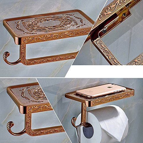 ThinkTop Antique Carving Toilet Roll Paper Holder with Phone Shelf Wall Mounted Bathroom Paper Rack and Hook-Rose Gold by ThinkTop (Image #6)