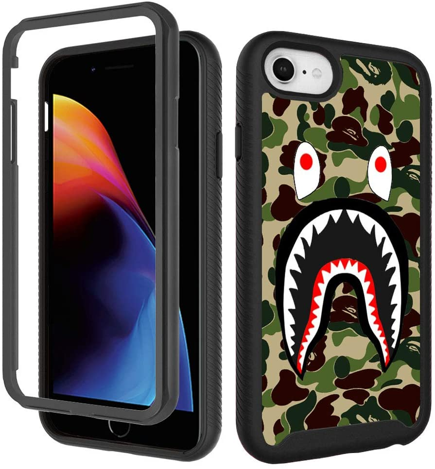 iPhone SE 2020 Case,iPhone 6 6s, iPhone 8 Fashion Camo Case, Luxury iPhone 7 Cases for Boys Men Design Shockproof Rugged Dual Layer Bumper Full-Body Protective Cover 4.7inch - Army Green Shark