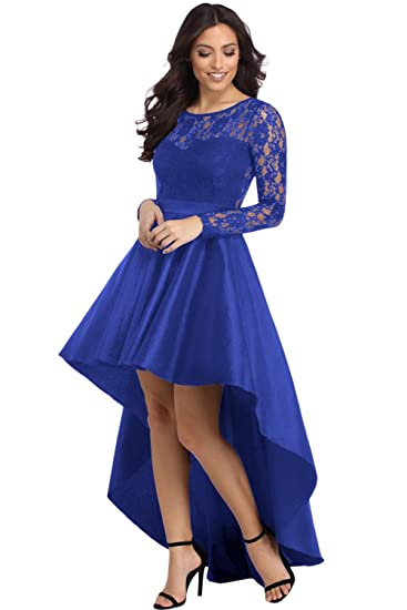 Betty-Boutique Womens Royal Blue Long Sleeve Lace High Low Satin Prom Dress Size 10