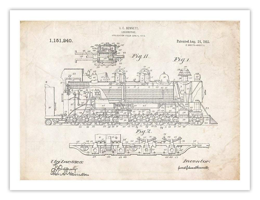 Amazon Com Steves Poster Store Vintage Steam Locomotive 1915 Us