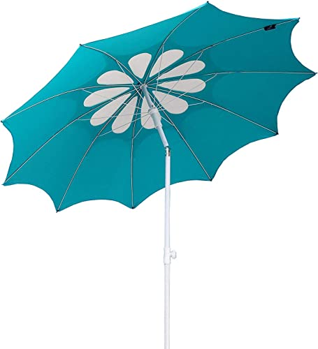AMMSUN 7ft Beach Umbrella with Tilt Telescopic Pole and UPF 100 , Flower Vents Design and Portable Sun Shelter for Sand and Outdoor Activities, Carry Bag and Without Sand Anchor Teal white