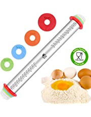 DSL Adjustable Rolling Pin with Thickness Rings Non Stick 17 inch Large Heavy Duty Stainless Steel French Style Dough Roller for Baking Pizza Pie Pastries and Cookies