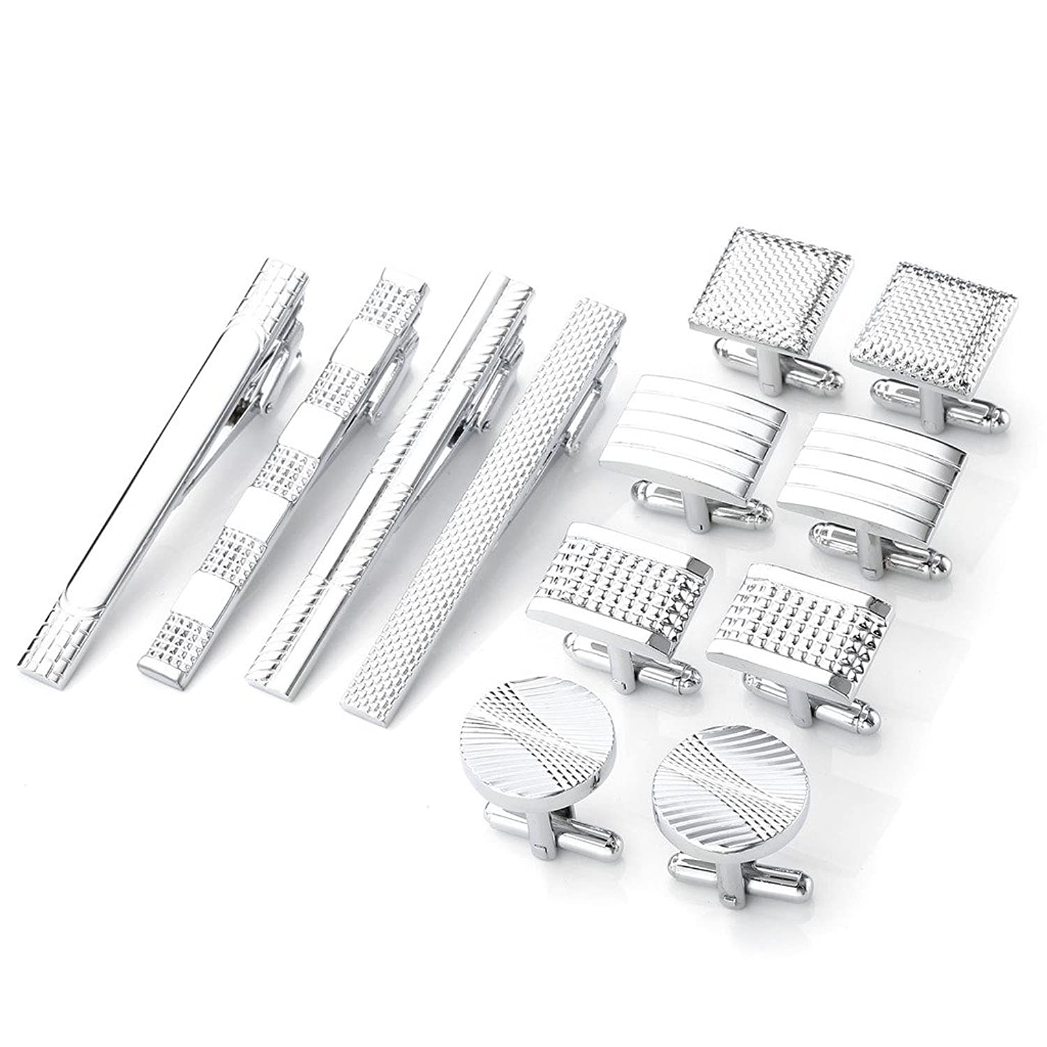 PiercingJ 12pcs Men's Classic Stainless Steel Cufflinks and Tie Clip Set