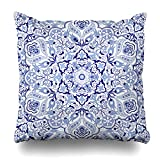 Soopat Decorative Throw Pillow Cushion Cover 20''X20'' Vintage Portugal Azulejo Majolica Pottery Tile Blue And White Original Traditional Portuguese Spain Turkish Islam ArabicDecorative Home Decor