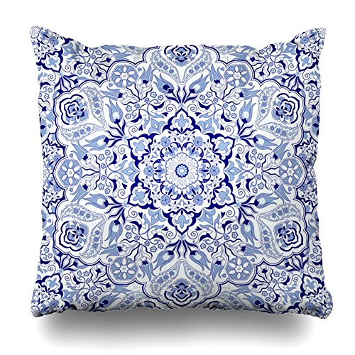 Soopat Decorative Throw Pillow Cushion Cover 20''X20'' Vintage Portugal Azulejo Majolica Pottery Tile Blue And White Original Traditional Portuguese Spain Turkish Islam ArabicDecorative Home Decor by Soopat