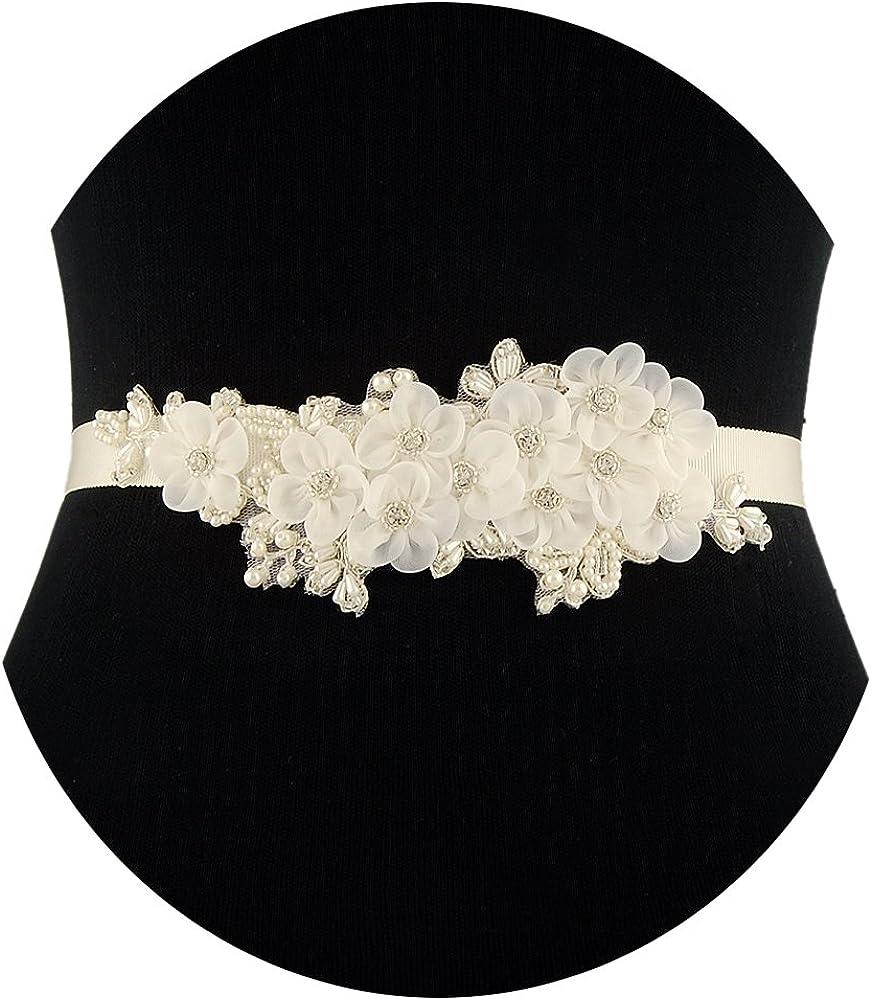 ULAPAN Women's Floral Bridal Sash Bridal Belt Crystals Wedding Belt Wedding Sash