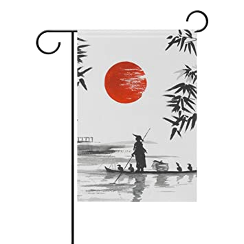 Jstel Home Japanische Malerei Mann Mit Polyester Boot Garten Flaggen Lovely  Und Schimmelresistent Custom
