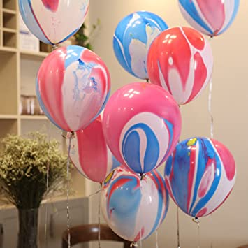 Marble Party Balloons Decoration Supplies , 10 Inches Rainbow Party  Decorations Balloons Latex