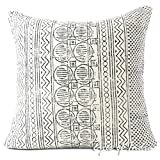 Eyes of India 24'' White Black Decorative Pillow Block Print Cushion Cover Floor Couch Sofa Throw Colorful Boho Indian Bohemian
