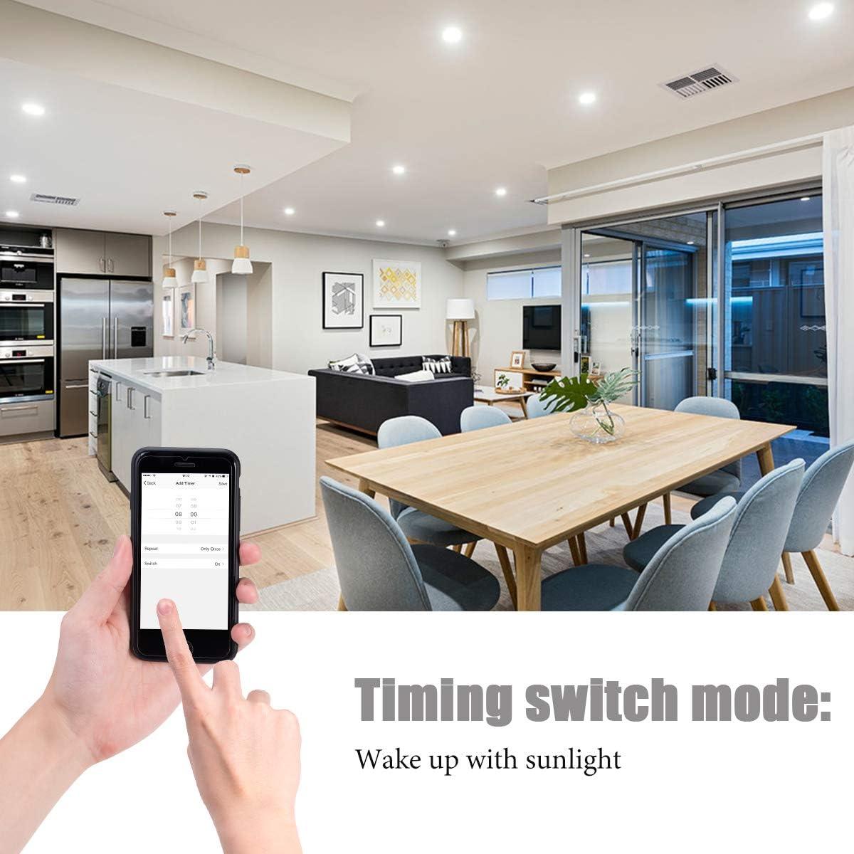 equivalente a bombilla hal/ógenas de 50W 2700K blanco c/álido funciona con Alexa LOHAS Bombilla WiFi GU10 5W LED para dormitorio regulable a trav/és de la app Google Home 2 unidades sala de estar