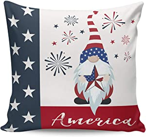 Heart Pain Throw Pillow Covers Gnome Hold American Star Flag Pattern Square Cushion Covers Pillowcases for Sofa Bedroom Car Chair (Short Plush) Patriotic Fireworks - 16 x 16 Inches