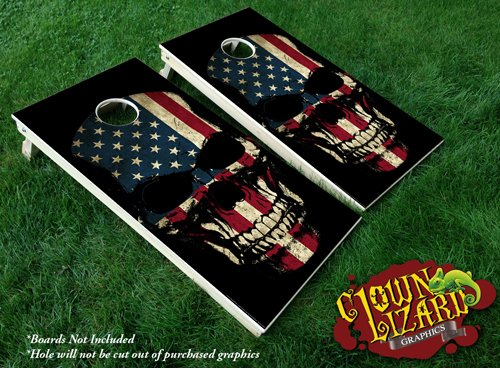 CL0065 Flag Skull CORNHOLE LAMINATED DECAL WRAP SET Decals Board Boards Vinyl Sticker Stickers Bean Bag Game Wraps Vinyl Graphic Image Corn Hole American America