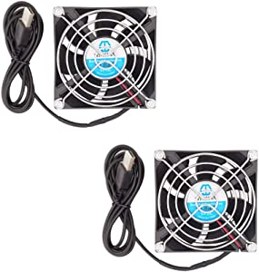 WINSINN 80mm USB Fan 5V Dual Ball Bearing Brushless 8025 80x25mm for Cooling PC Computer Case CPU Set-top Box Router Receiver DVR Playstation Xbox (Pack of 2Pcs)