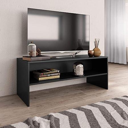 UnfadeMemory Mueble para TV,Mesa para TV,Estante de TV para Salón Dormitorio,Estilo Clásico,con Compartimento Abierto,Madera Aglomerada (Negro, 100x40x40cm): Amazon.es: Hogar
