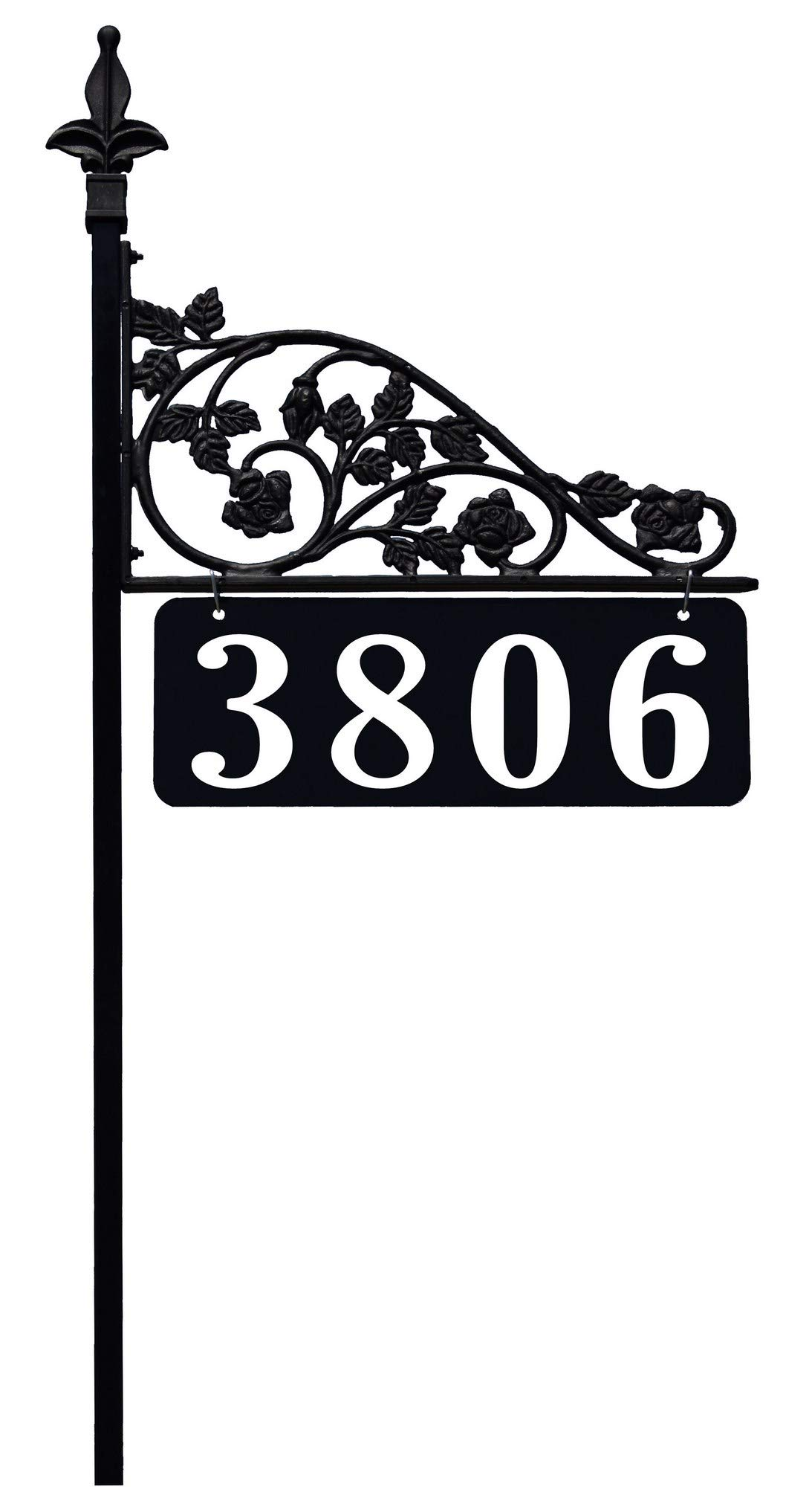Rose Reflective Double Sided Address Sign with 47'' Pole. Easily Seen Day and Night. No Batteries, Electricity Or Solar Cells Required