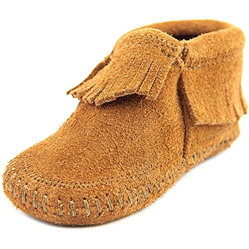 Minnetonka Infant-Girls' Riley Moccasin Booties Brown 4 M US - Moccasin Boots For Kids
