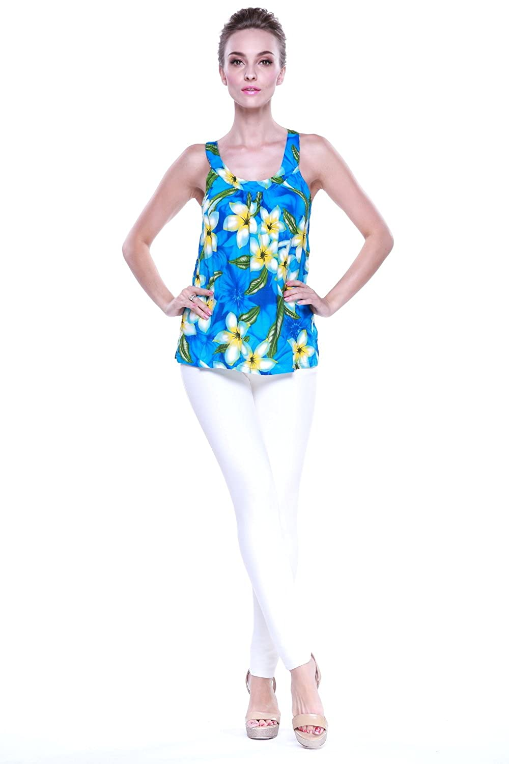 3d82543751926 Amazon.com  Aloha Fashion Women s Hawaiian Floral Tank Top in Turquoise  with Yellow Floral L  Clothing