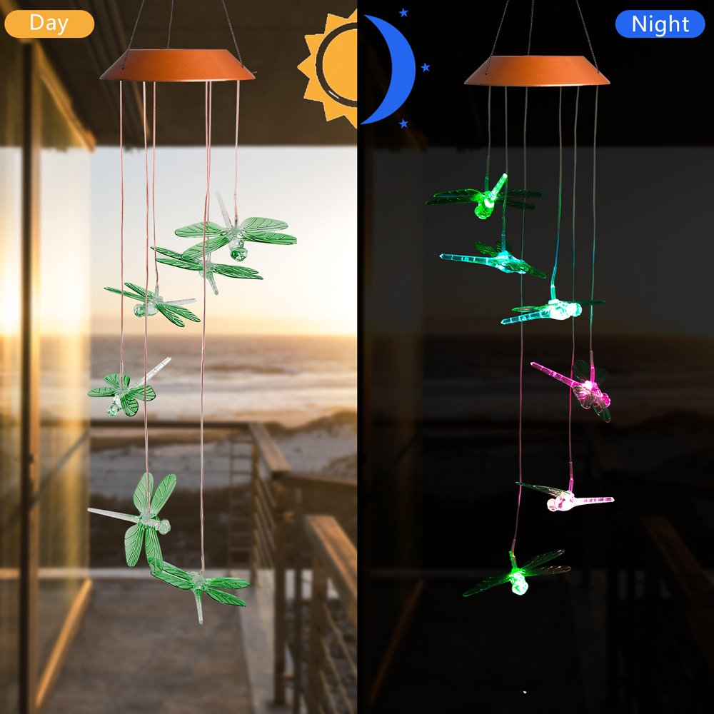 CXFF LED Solar Dragonfly Wind Chimes Outdoor - Waterproof LED Changing Light Color Wind Chime, Six Dragonflies Wind Chimes for Home, Party, Night Garden Decoration