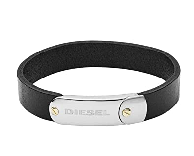 92073f5e7ffa5 Amazon.com: Diesel Men's Stainless-Steel and Black Leather Bracelet ...