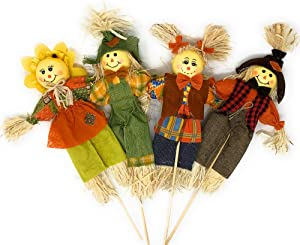 Autumn Harvest Scarecrow Stakes, Set of 4, Thanksgiving Scarecrows on a Stick, Fall Decorations for Garden, Home, Yard, Porch, Harvest Decor